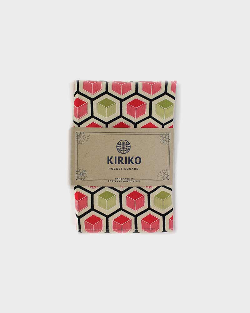 Pocket Square, Pink, Green & Teal Kikko