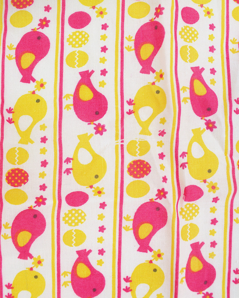 Tenugui Birds Yellow and Pink
