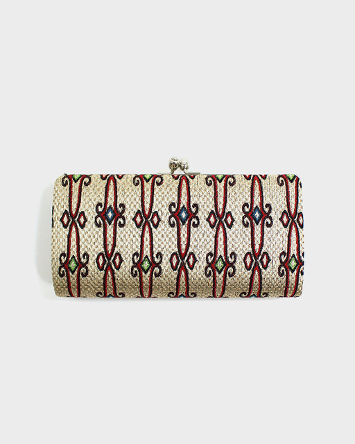 Ainu Accordion Clutch, Cream and Red, Blue and Green Accents