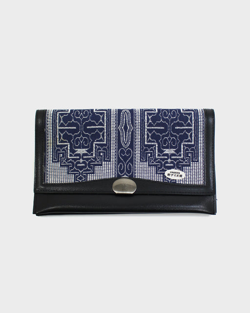 Ainu Black Leather Clutch, Blue and White