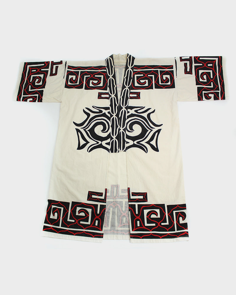 Ainu Jacket, Natural with Black and Red