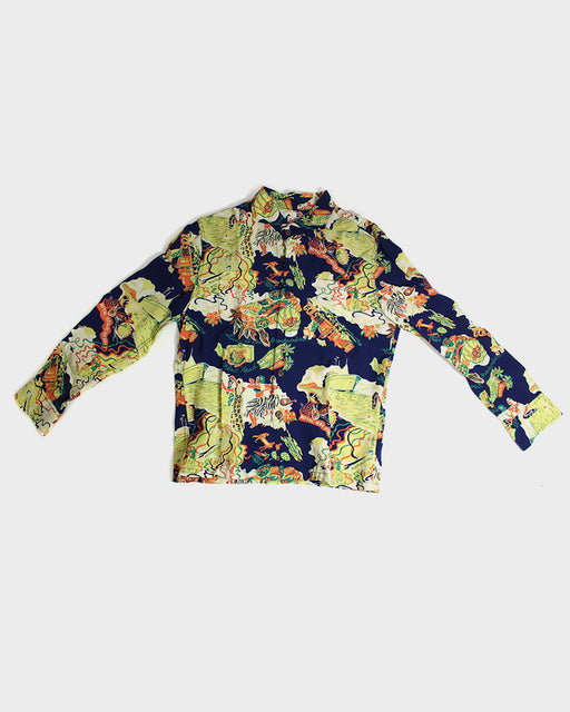 The Flat Head, Long Sleeve Aloha Shirt, Orange, Yellow and Blue Map (XS)