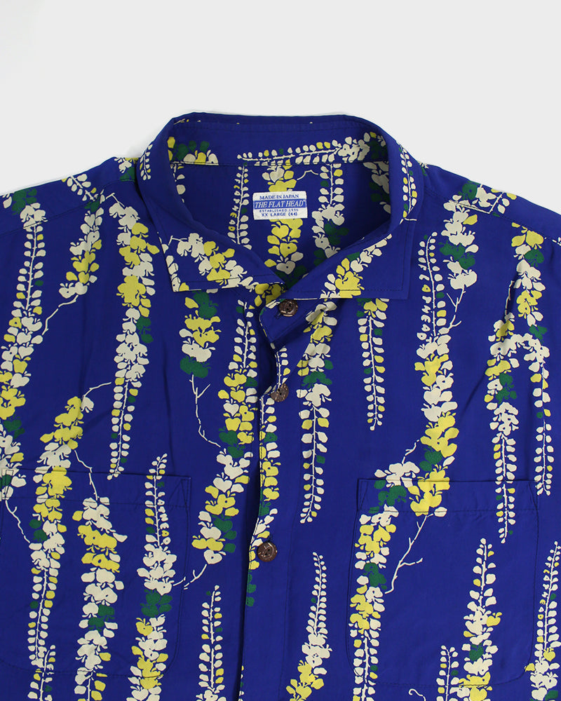 The Flat Head, Aloha Shirt, Blue with Floral
