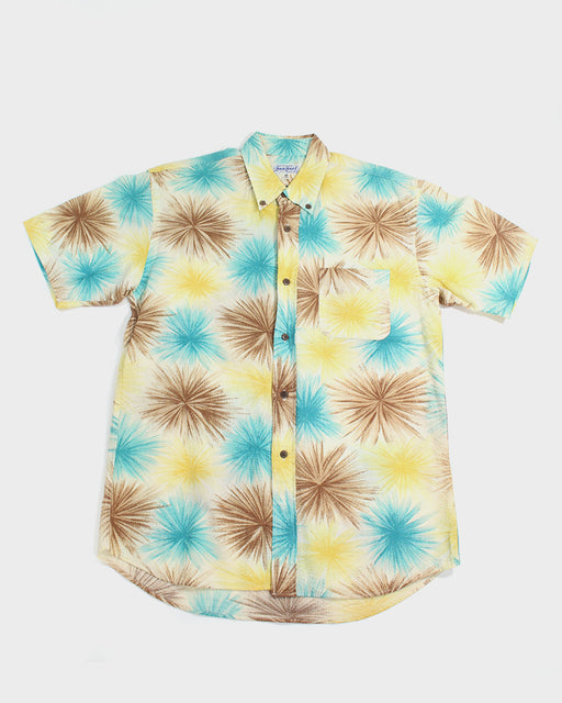 Sun Surf, Aloha Shirt, Brown, Blue, Yellow Fireworks