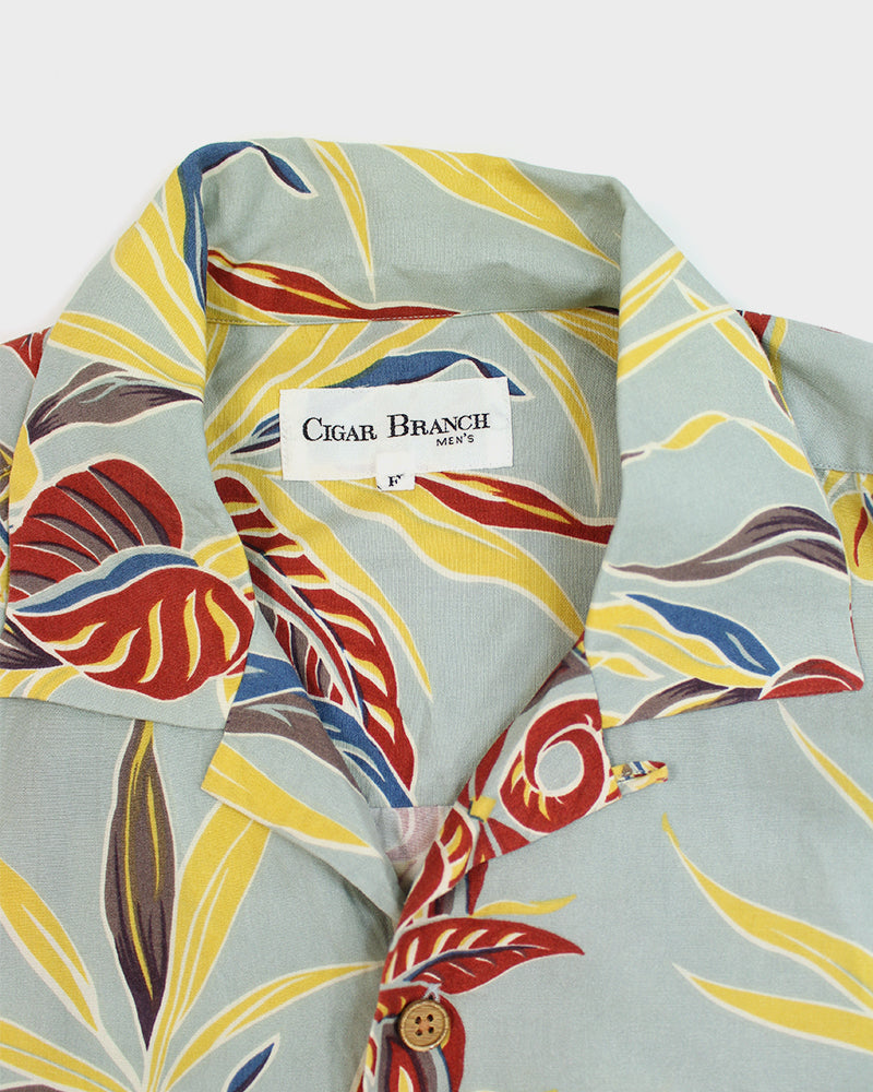 Aloha Shirt, Red, Yellow and Blue Leaves