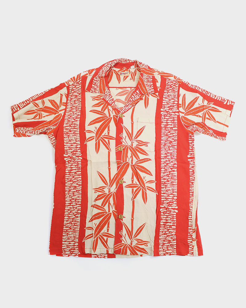 Sun Surf Aloha Shirt, Red and Cream, Bamboo Shoots (S)