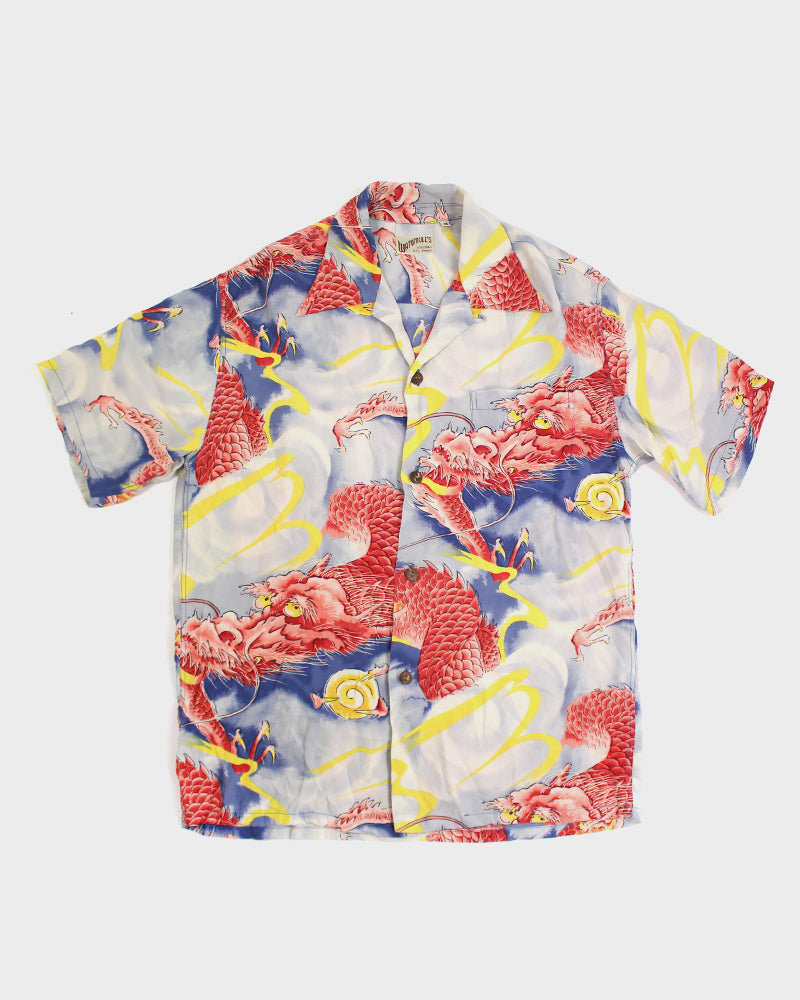Watumull's Aloha Shirt, Red, Yellow and Blue, Dragon (M)