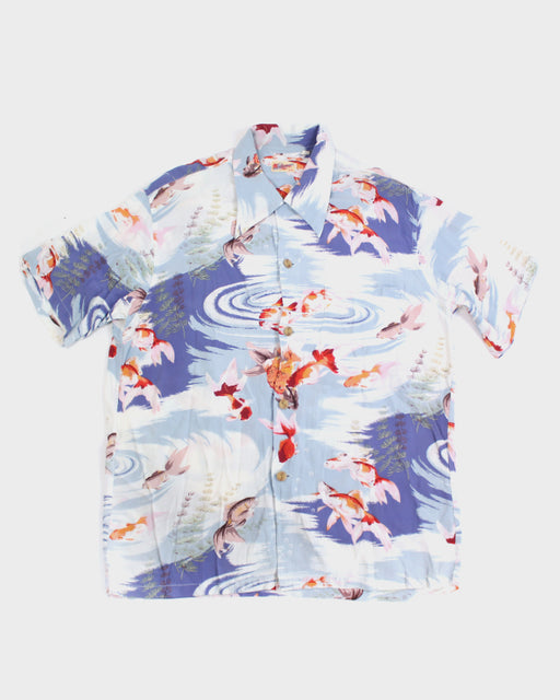 Sun Surf Aloha Shirt, Cream and Blue, Goldfish (M)