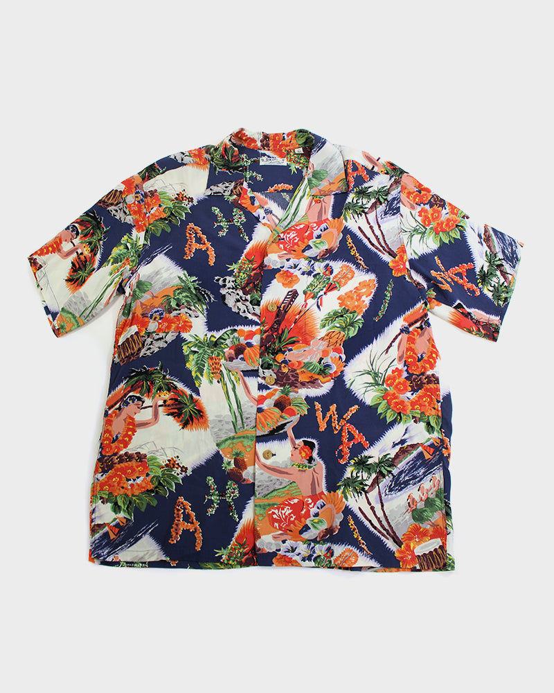 Sun Surf Aloha Shirt, Hula and Palm Trees (L)