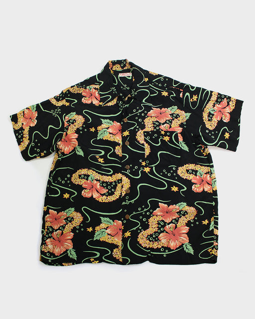 Sun Surf Aloha Shirt, Black, Floral