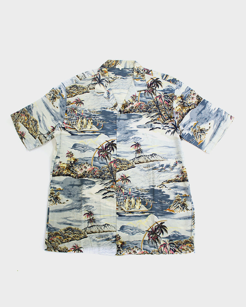 Aloha Shirt, Waves and Huts