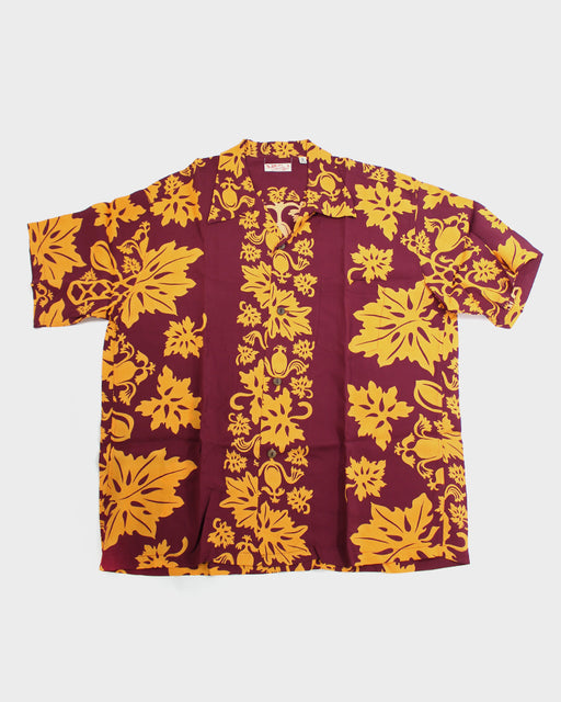 Sun Surf Aloha Shirt, Maroon and Orange