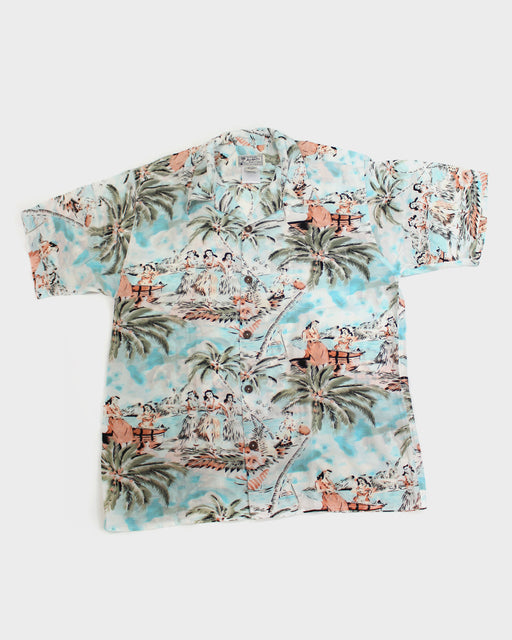 Avanti Aloha Shirt, Hula Girls and Palm Trees, Silk