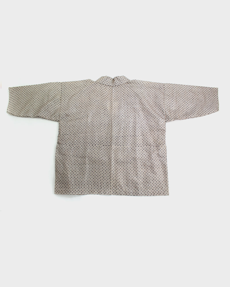 Altered Kimono, Silver, Tan and Black, Jyujy Cross with Grid