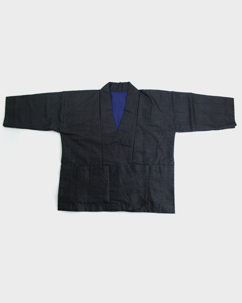 Altered Kimono, Dark indigo with Light Blue and Bright Blue Lining