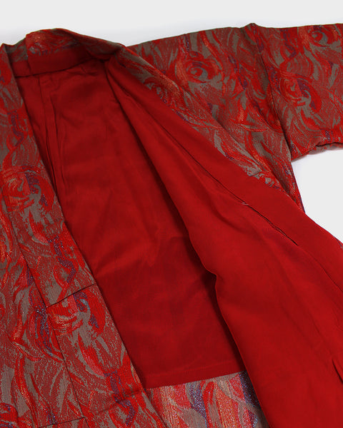 Modern Cut Kimono, Red Abstract Roses with Metallic
