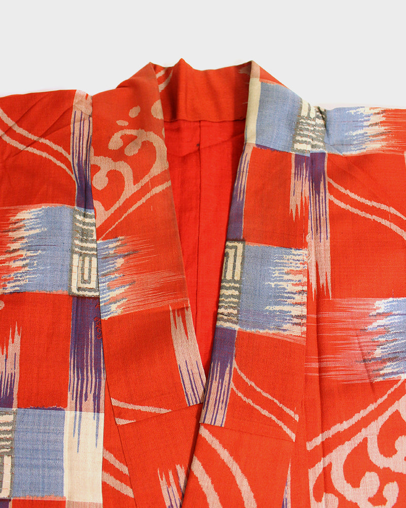 Altered Kimono Jackets, Red, Blue and Purple Abstract Pattern