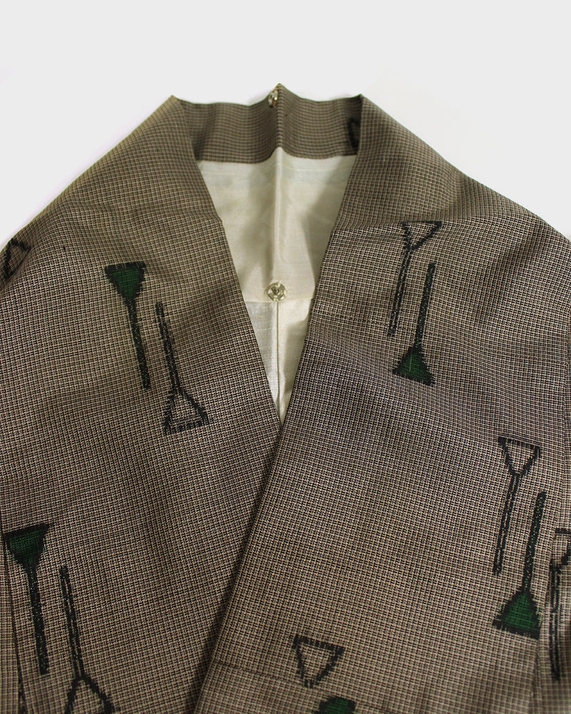 Altered Kimono Jackets, Light Brown with Green Triangle Markings