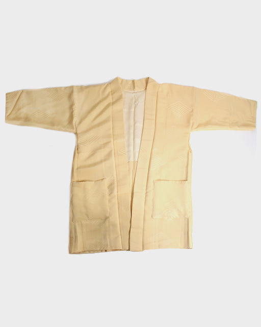 Modern Cut Haori Jacket, Yellow with Stitched Abstract Arrow Pattern
