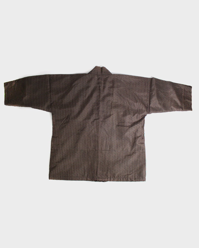 Altered Kimono Jackets, Brown with Small Cross Pattern