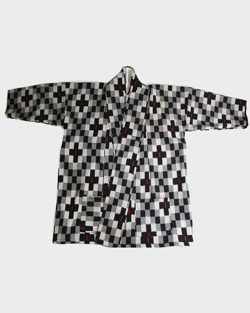 Altered Kimono Jackets, Black and White Checkered Pattern with Red Specks