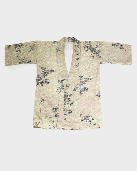 Modern Cut Haori Jacket, Textured Off-White with Maple Leaves