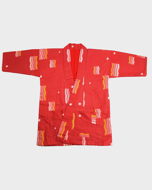 Altered Kimono, Red, Orange and Yellow Kasuri