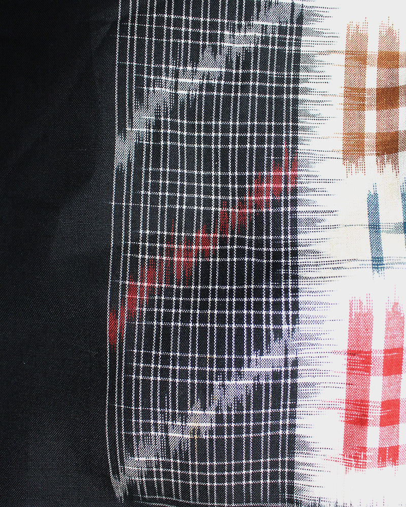Altered Kimono Jacket, Black with White, Red, and Orange Plaid