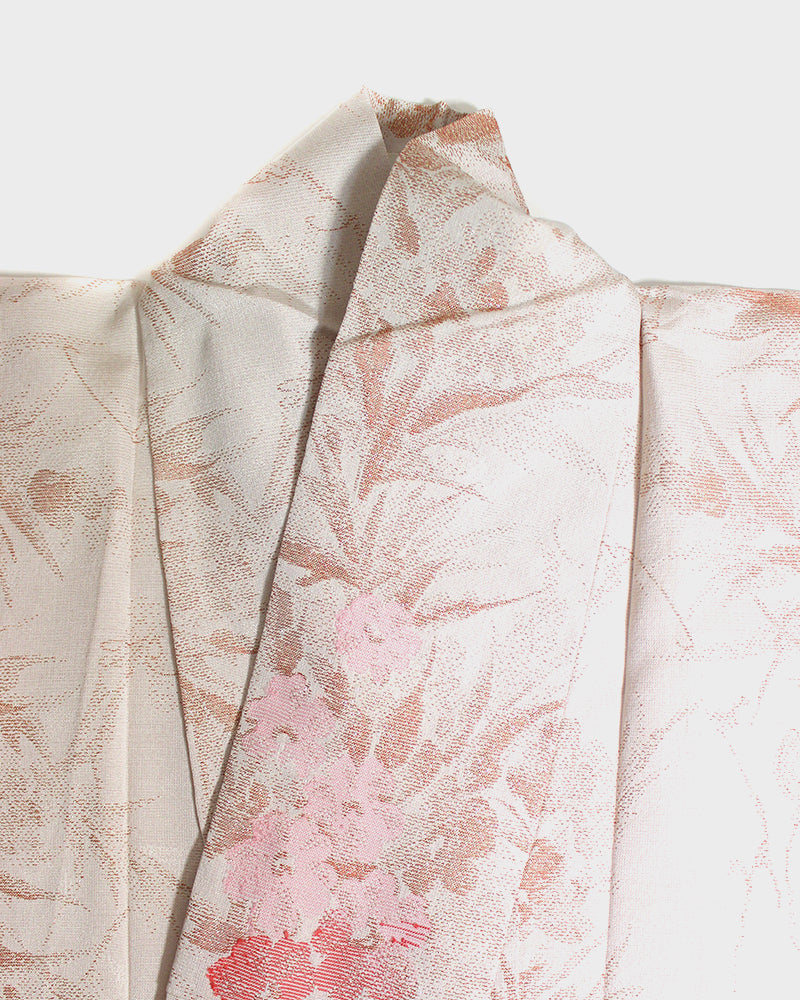 Altered Kimono Jacket, Pearl with Shimmer Pink Floral Pattern