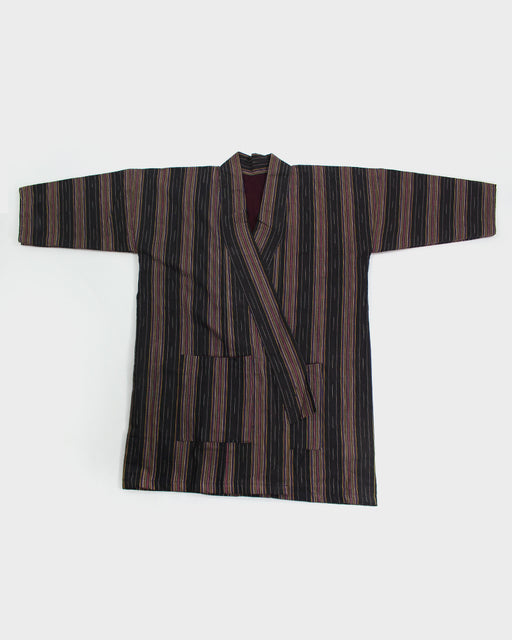 Altered Kimono, Black, Purple and Beige Shima