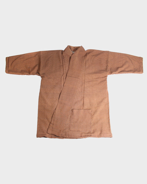 Altered Kimono Jacket, Brown Small Grid