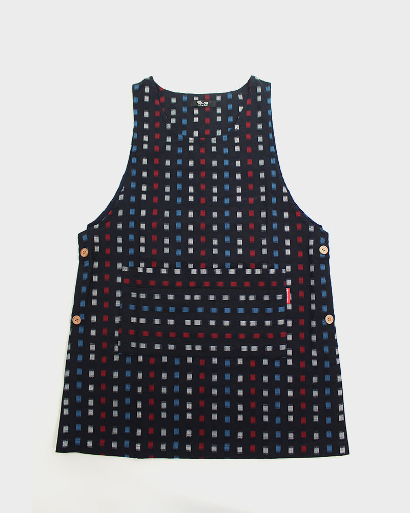 Japanese Apron Button-Up Side, Indigo with Red and White Squares