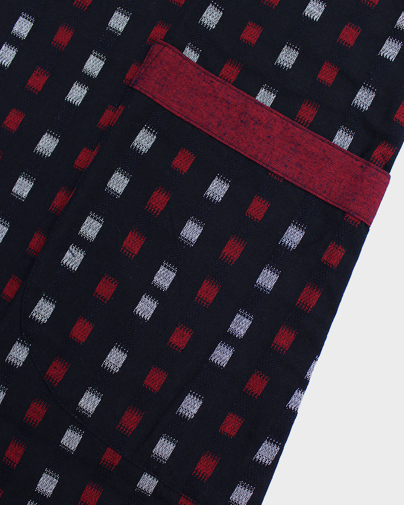 Japanese Apron, Kasuri Grid Red and White