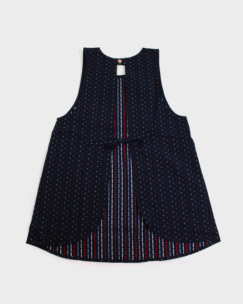 Japanese Apron, Blue, Red and White Dashes with Red Pockets