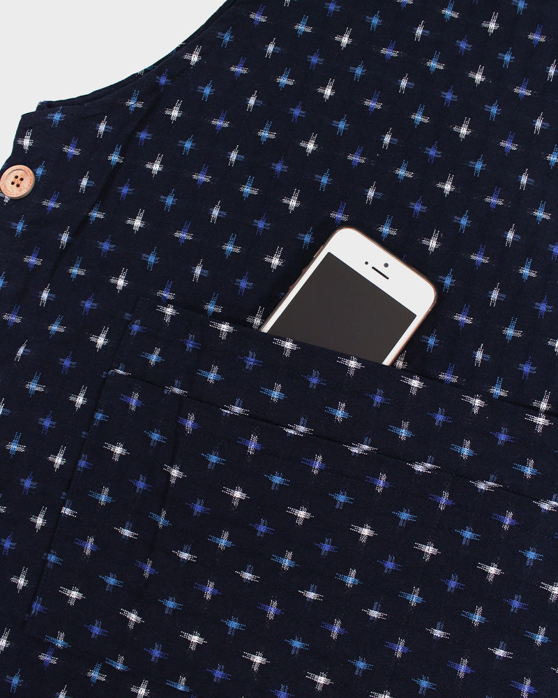 Japanese Apron Button-Up Side, Indigo, Blue & White Jyuji