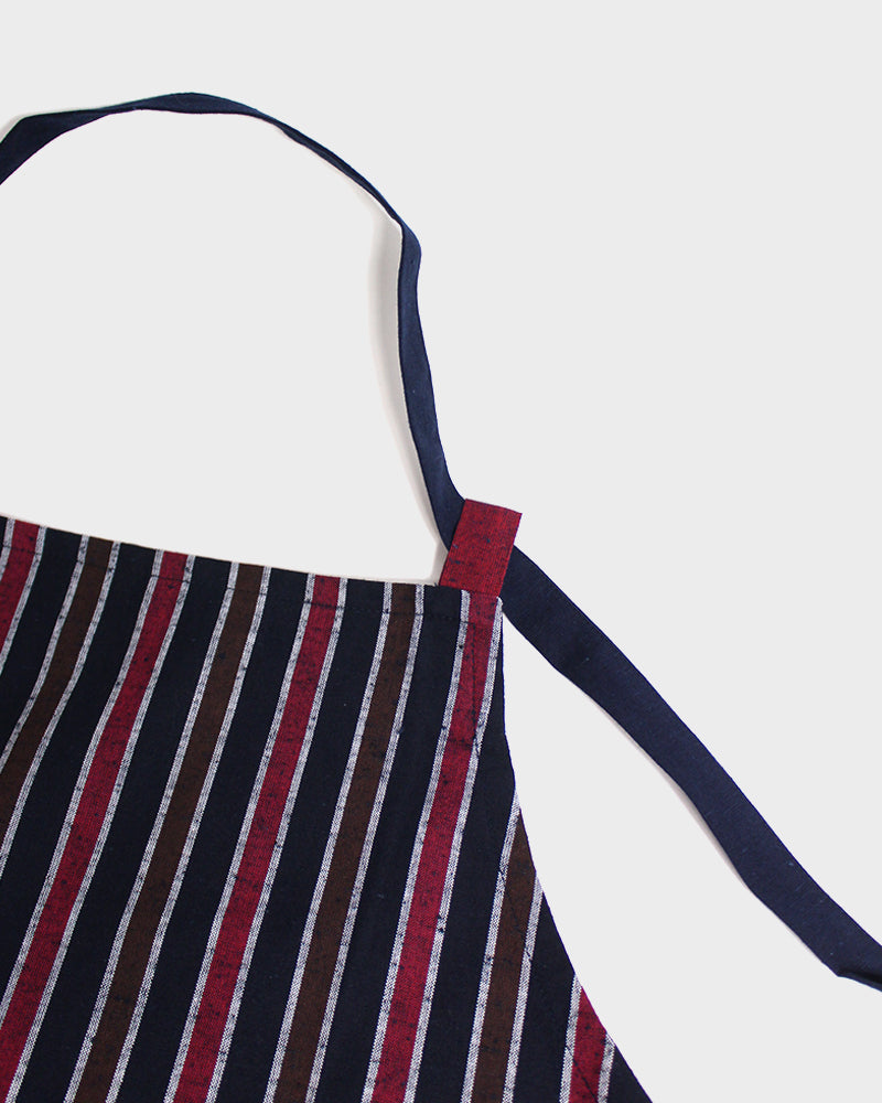 Japanese Cafe Apron, Indigo, Red & Brown Shima