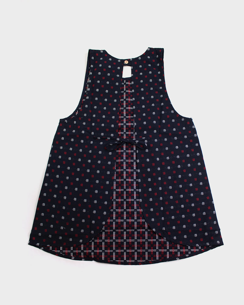 Japanese Apron, Midnight Igeta with Red Pockets