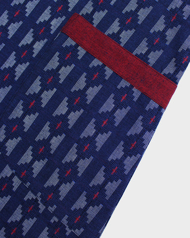 Japanese Apron, Kasuri Blue and Red Ikat