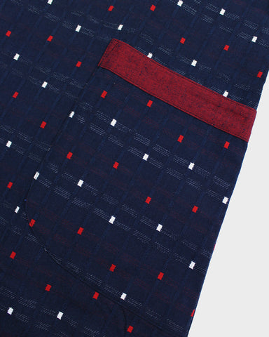 Japanese Apron, Kasuri Blue and Red Squares