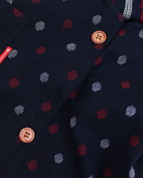 Japanese Apron Button-Up Side, Indigo with Red and White Dots