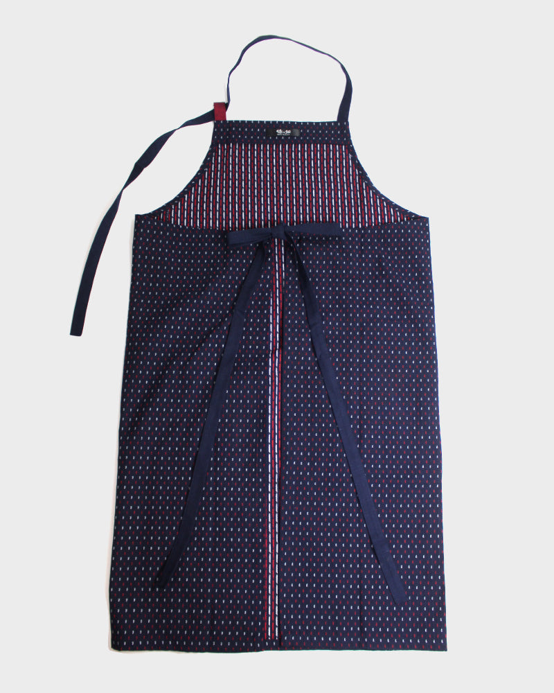 Japanese Cafe Kasuri-Ori Apron, Indigo, Red & White Dash