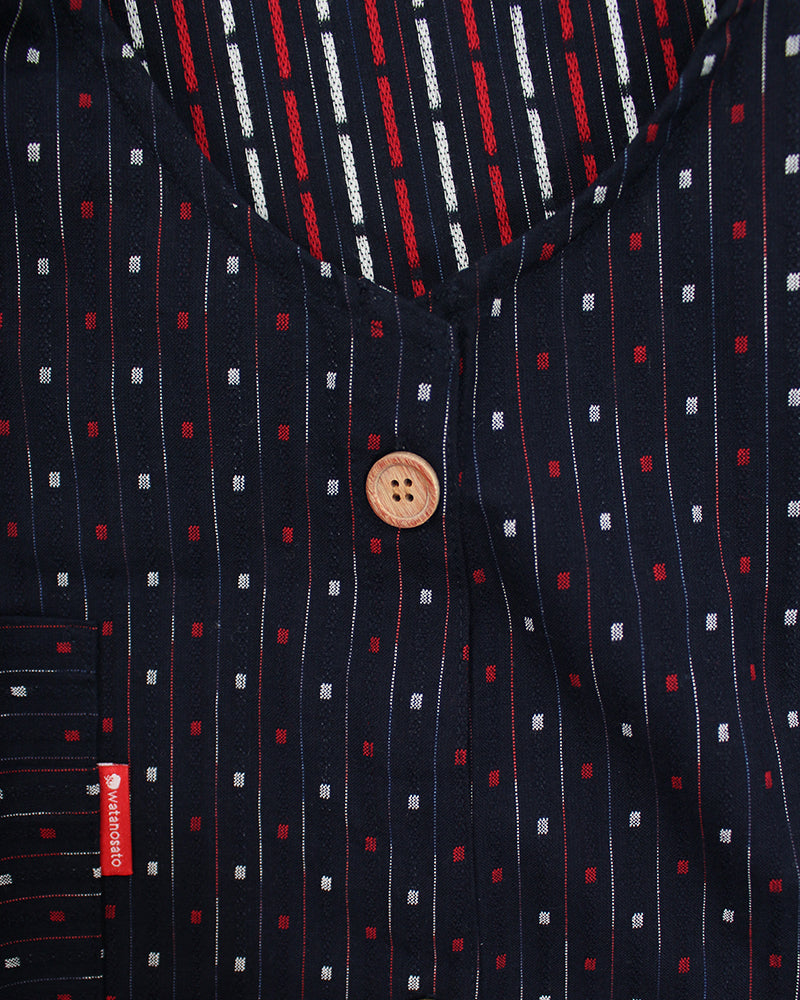 Japanese Apron Button-Up Side, Indigo with Red and White Shima with Squares