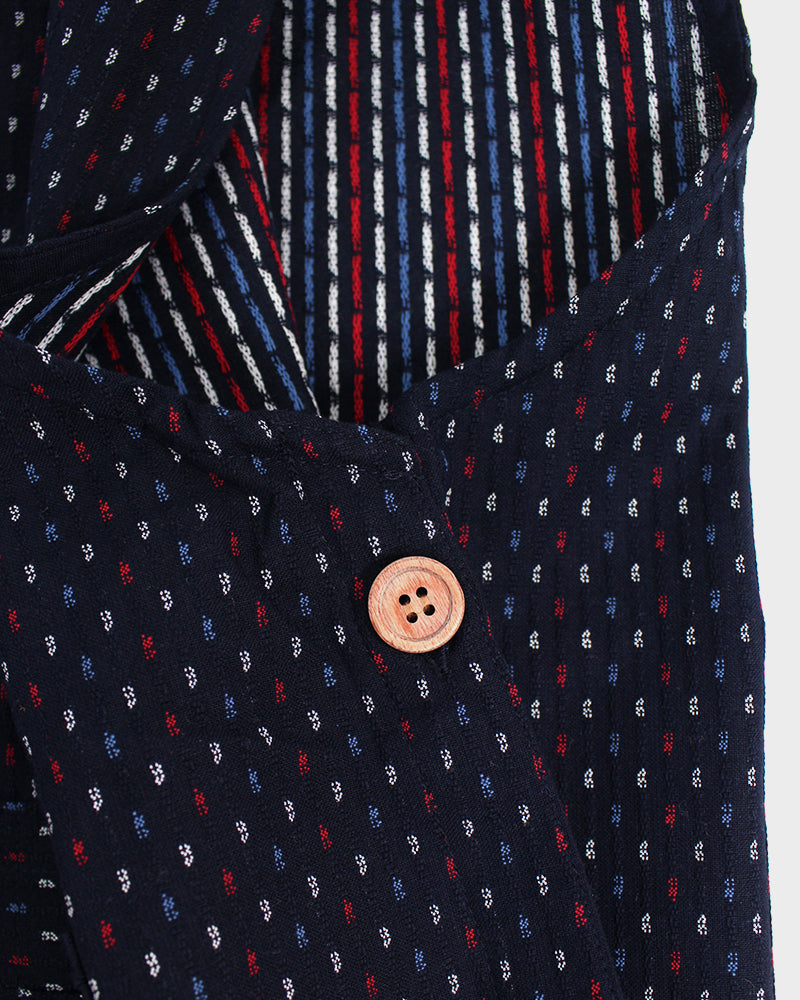 Japanese Apron Button-Up Side, Indigo,Blue, Red & White Dash