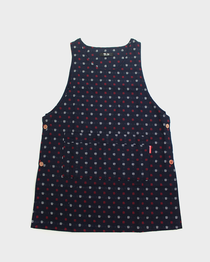 Japanese Apron Button-Up Side, Indigo with Red and White Igeta