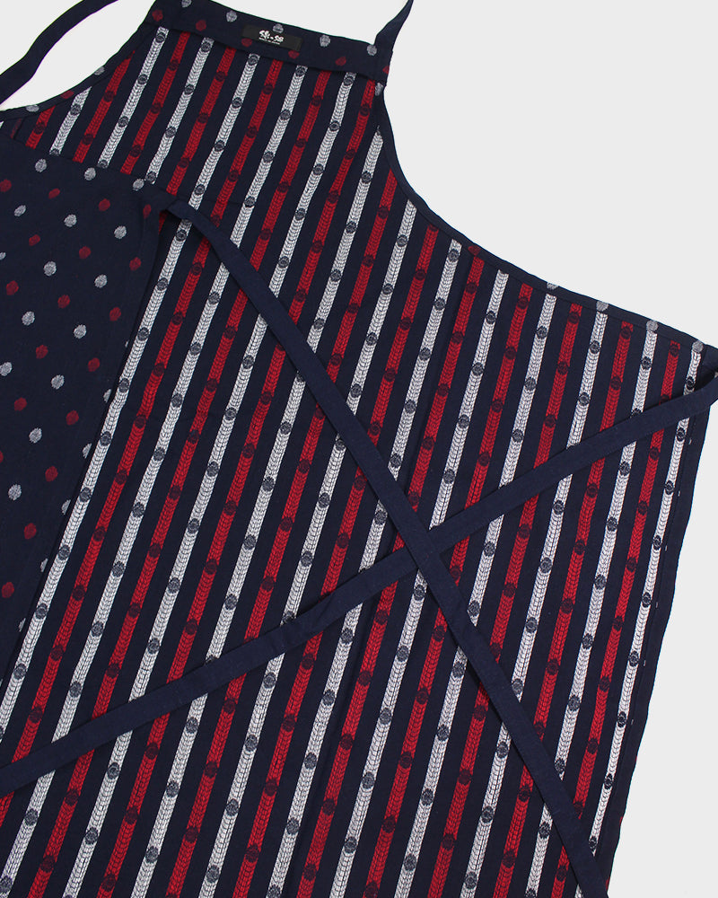Japanese Cafe Apron, Indigo, Red And White Polka Dots