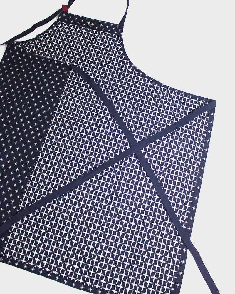 Japanese Cafe Kasuri-Ori Apron, Indigo White Cross Weave