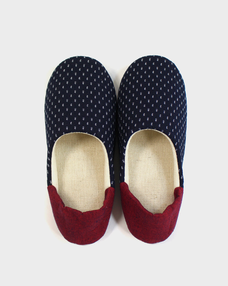 Babouche, Indigo Dash Kasuri with Red Heel
