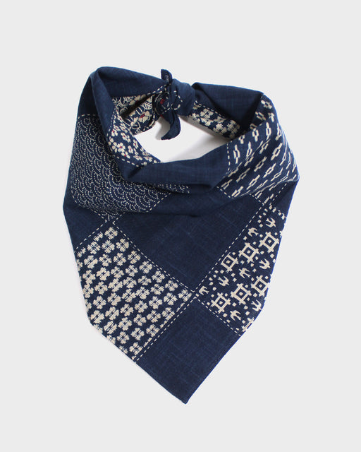 Bandana, Indigo Checkered Multi With Red