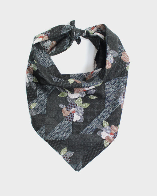 Bandana, Charcoal Patchwork Style, Flowers