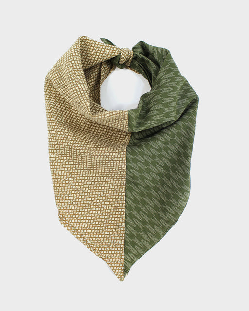 Split Bandana, Green Yagasuri and Tan Shibori